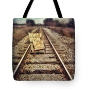 Old Chair On Railroad Tracks Tote Bag