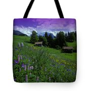 Old Couple By Mountainside Cottages Tote Bag