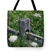 Old Fence And Wildflowers Tote Bag