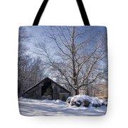 Old Hay Barn In Deep Snow Tote Bag