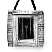 Old Jailhouse Door In Black And White Tote Bag