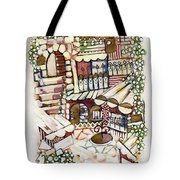 Old Jerusalem Courtyard Modern Artwork In Red White Green And Blue With Rooftops Fences Flowers Tote Bag