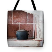 old kitchen - A part of a traditional kitchen with a vintage metal pot  Tote Bag