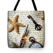 Old Letter With Pen And Starfish Tote Bag