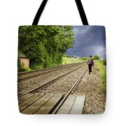 Old Man Walks Along Train Tracks Tote Bag