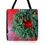 Old Mill Of Guilford Door Wreath Tote Bag