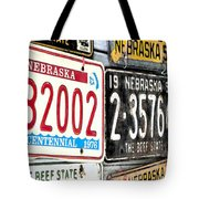 Old Nebraska Plates Tote Bag