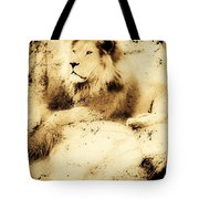 Old Photograph Of A Lion On A Rock Tote Bag