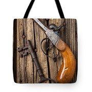 Old Pistol And Skeleton Key Tote Bag by Garry Gay