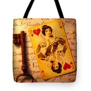 Old Playing Card And Key Tote Bag by Garry Gay