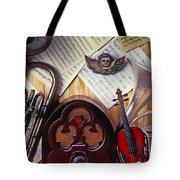 Old Radio And Music Instruments Tote Bag