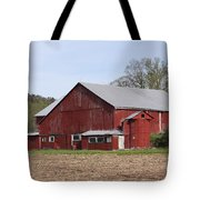Old Red Barn With Short Silo Tote Bag