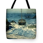Old Sailing Vessel Near The Rocky Shore Tote Bag