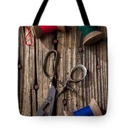 Old Scissors And Spools Of Thread Tote Bag