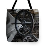 Old Ships Wheel, Chains And Wood Planks Tote Bag