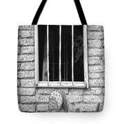 Old Western Jailhouse Window In Black And White Tote Bag
