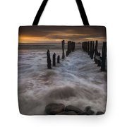 Old Wharf At Sunrise Saint Clair Beach Tote Bag