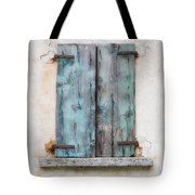 Old Window With Blue Shutte Tote Bag