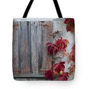 Old Window With Red Leaves Tote Bag