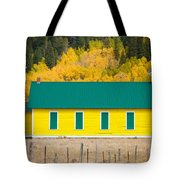 Old Yellow School House With Autumn Colors Tote Bag