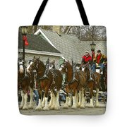 Olde Tyme Travel Clydesdales Tote Bag