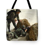 Oldier Fills In A Defensive Lining Tote Bag