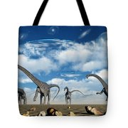 Omeisaurus Dinosaurs Are Startled Tote Bag