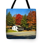 On A West Virginia Road Painted Tote Bag