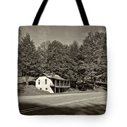 On A West Virginia Road Sepia Tote Bag