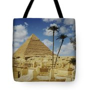 One Of The Pyramids Seen Behind An Arab Tote Bag
