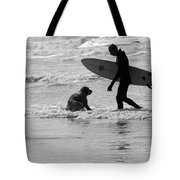 One Surfer And His Dog Tote Bag