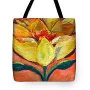 One Yellow Flower And Pinky Peach Behind Tote Bag