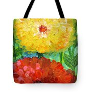One Yellow One Red And Orange Flower Shines Tote Bag