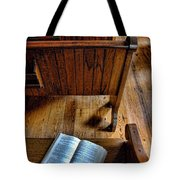 Open Book On Church Pew Tote Bag
