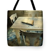 Open Book On Old Table Tote Bag