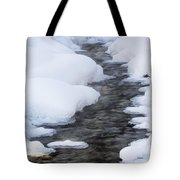 Open Running Creek With Snow Covered Tote Bag by Michael Interisano