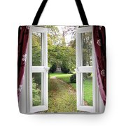 Open Window To A Church Garden Tote Bag