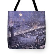 Opening Of The Great New York And Brooklyn Bridge And Grand Display Of Fire Works Tote Bag