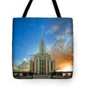 Oquirrh Mtn Temple Setting Sun Tote Bag