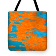 Orange And Blue Reflection In Water. Tote Bag