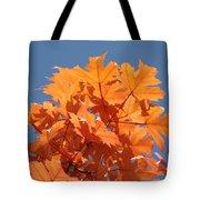 Orange Autumn Leaves Art Prints Blue Sky Tote Bag