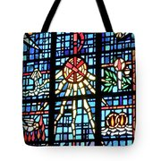 Orange Blue Stained Glass Window Tote Bag by Thomas Woolworth
