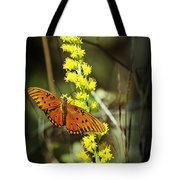 Orange Butterfly On Yellow Wildflower Tote Bag