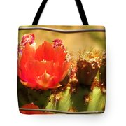 Orange Cactus Flower With Fence Tote Bag