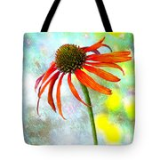 Orange Coneflower On Green And Yellow Tote Bag