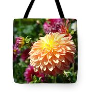 Orange Dahlia Flower Floral Fine Art Photography Tote Bag by Baslee Troutman