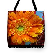 Orange Floral Tote Bag