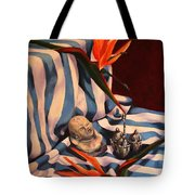 Orange Flowers And Blue Cloth Tote Bag