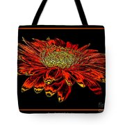 Orange Gerbera Daisy With Chrome Effect Tote Bag