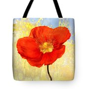 Orange Iceland Poppy On Yellow And Blue Tote Bag